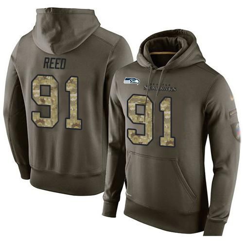 NFL Men's Nike Seattle Seahawks #91 Jarran Reed Stitched Green Olive Salute To Service KO Performance Hoodie