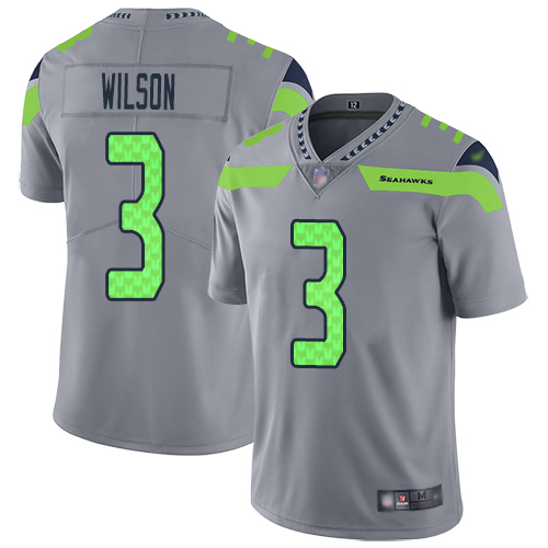Nike Seahawks #3 Russell Wilson Gray Men's Stitched NFL Limited Inverted Legend Jersey
