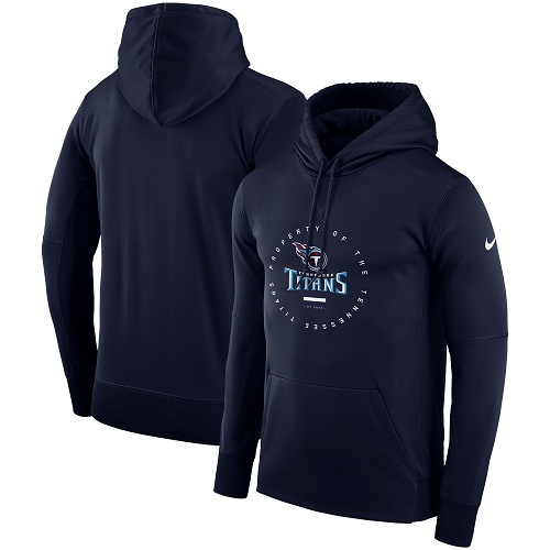Men's Tennessee Titans Nike Navy Sideline Property Of Wordmark Logo Performance Pullover Hoodie