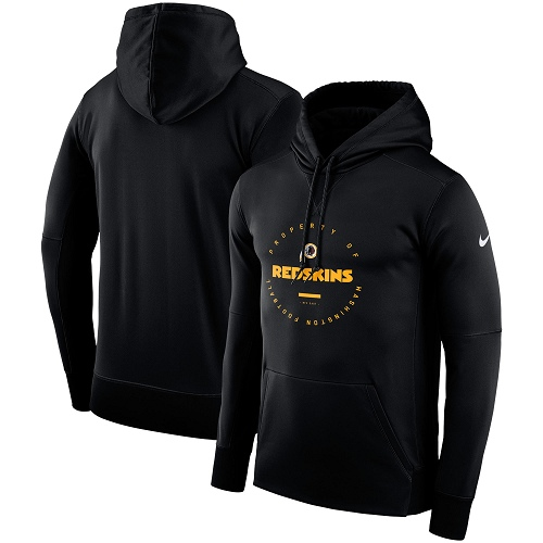 Men's Washington Redskins Nike Black Sideline Property Of Wordmark Logo Performance Pullover Hoodie
