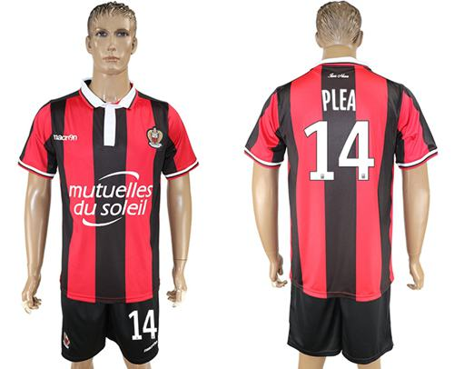OGC Nice #14 Plea Home Soccer Club Jersey