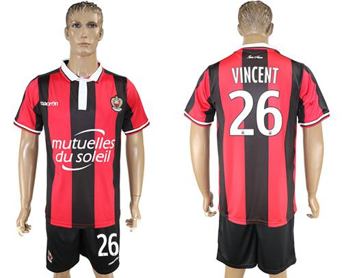 OGC Nice #26 Vincent Home Soccer Club Jersey