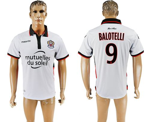 OGC Nice #9 Balotelli Away Soccer Club Jersey