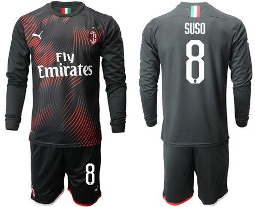 AC Milan #8 Suso Third Long Sleeves Soccer Club Jersey