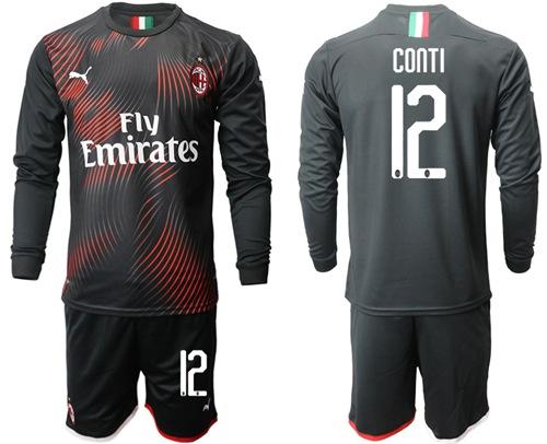 AC Milan #12 Conti Third Long Sleeves Soccer Club Jersey