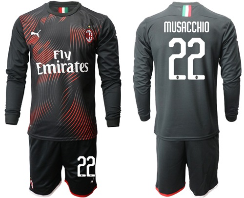 AC Milan #22 Musacchio Third Long Sleeves Soccer Club Jersey
