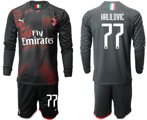 AC Milan #77 Halilovic Third Long Sleeves Soccer Club Jersey