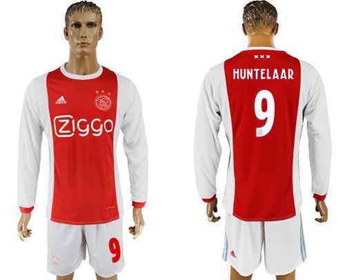 Ajax #9 Huntelaar Home Long Sleeves Soccer Club Jersey