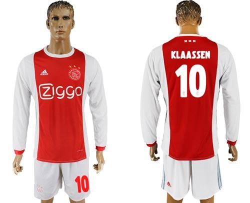 Ajax #10 Klaassen Home Long Sleeves Soccer Club Jersey