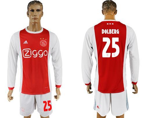 Ajax #25 Dolberg Home Long Sleeves Soccer Club Jersey