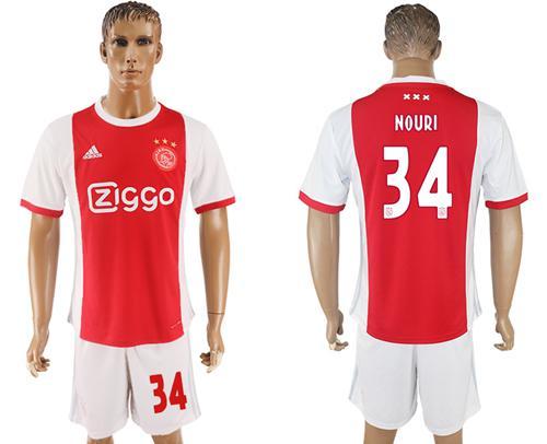 Ajax #34 Nouri Home Soccer Club Jersey
