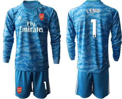 Arsenal #1 Leno Light Blue Goalkeeper Long Sleeves Soccer Club Jersey
