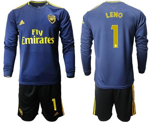 Arsenal #1 Leno Blue Long Sleeves Soccer Club Jersey