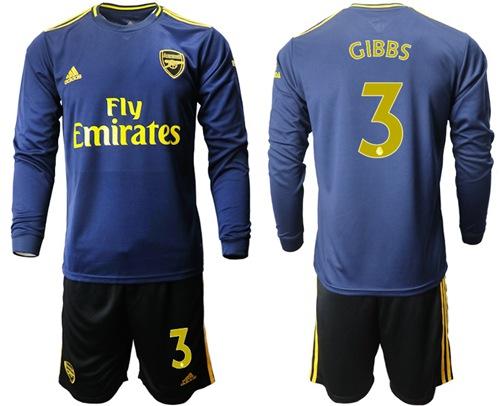 Arsenal #3 Gibbs Blue Long Sleeves Soccer Club Jersey