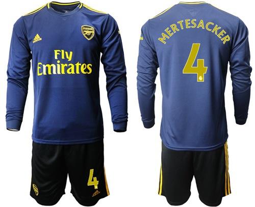 Arsenal #4 Mertesacker Blue Long Sleeves Soccer Club Jersey