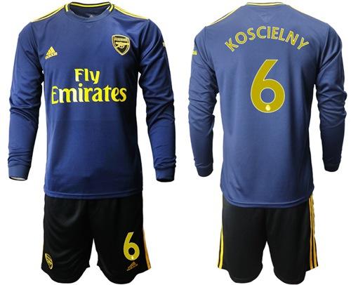 Arsenal #6 Koscielny Blue Long Sleeves Soccer Club Jersey