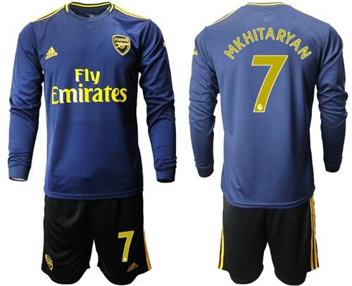 Arsenal #7 Mkhitaryan Blue Long Sleeves Soccer Club Jersey