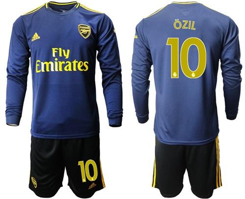 Arsenal #10 Ozil Blue Long Sleeves Soccer Club Jersey