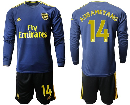 Arsenal #14 Aubameyang Blue Long Sleeves Soccer Club Jersey