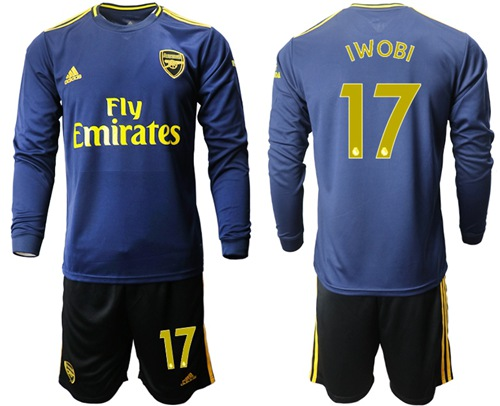 Arsenal #17 Iwobi Blue Long Sleeves Soccer Club Jersey