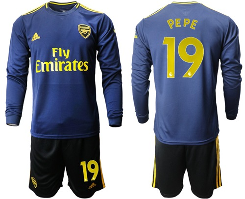 Arsenal #19 Pepe Blue Long Sleeves Soccer Club Jersey