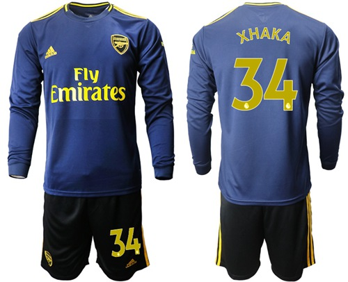 Arsenal #34 Xhaka Blue Long Sleeves Soccer Club Jersey