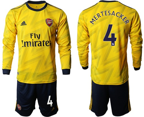 Arsenal #4 Mertesacker Away Long Sleeves Soccer Club Jersey