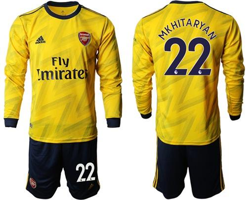 Arsenal #22 Mkhitaryan Away Long Sleeves Soccer Club Jersey