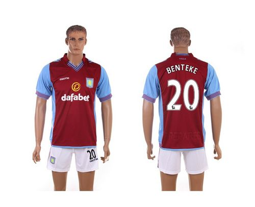 Aston Villa #20 Benteke Red Home Soccer Club Jersey