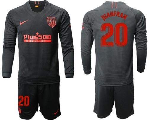 Atletico Madrid #20 Juanfran Away Long Sleeves Soccer Club Jersey