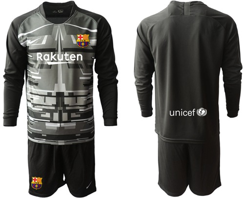 Barcelona Blank Black Goalkeeper Long Sleeves Soccer Club Jersey
