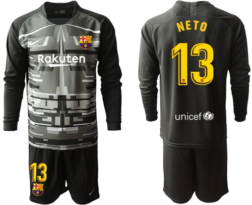 Barcelona #13 Neto Black Goalkeeper Long Sleeves Soccer Club Jersey