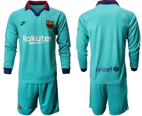 Barcelona Blank Third Long Sleeves Soccer Club Jersey