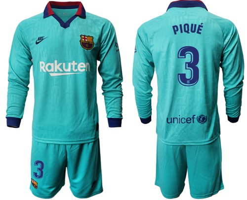 Barcelona #3 Pique Third Long Sleeves Soccer Club Jersey
