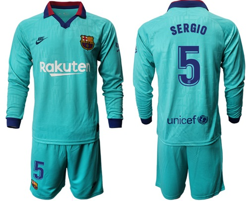 Barcelona #5 Sergio Third Long Sleeves Soccer Club Jersey