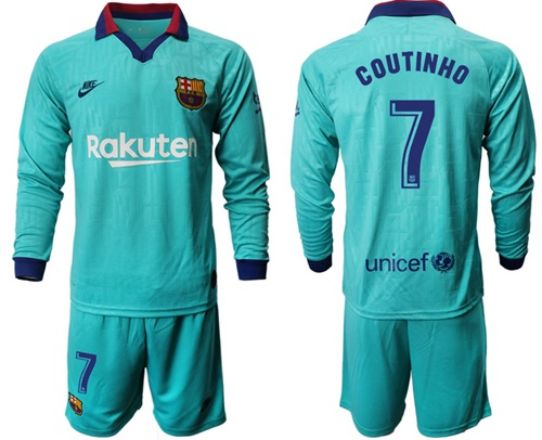Barcelona #7 Coutinho Third Long Sleeves Soccer Club Jersey