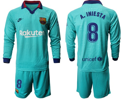 Barcelona #8 A.Iniesta Third Long Sleeves Soccer Club Jersey