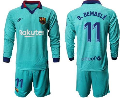 Barcelona #11 O.Dembele Third Long Sleeves Soccer Club Jersey