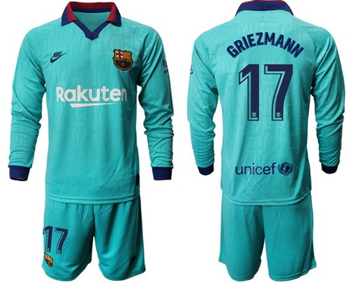 Barcelona #17 Griezmann Third Long Sleeves Soccer Club Jersey