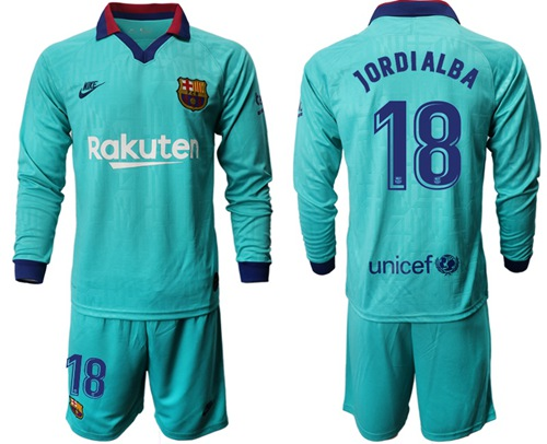 Barcelona #18 Jordi Alba Third Long Sleeves Soccer Club Jersey