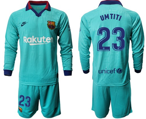 Barcelona #23 Umtiti Third Long Sleeves Soccer Club Jersey