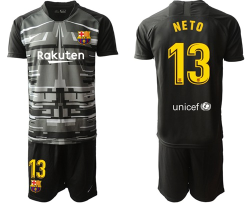 Barcelona #13 Neto Black Goalkeeper Soccer Club Jersey