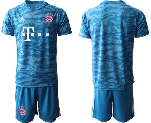 Bayern Munchen Blank Light Blue Goalkeeper Soccer Club Jersey