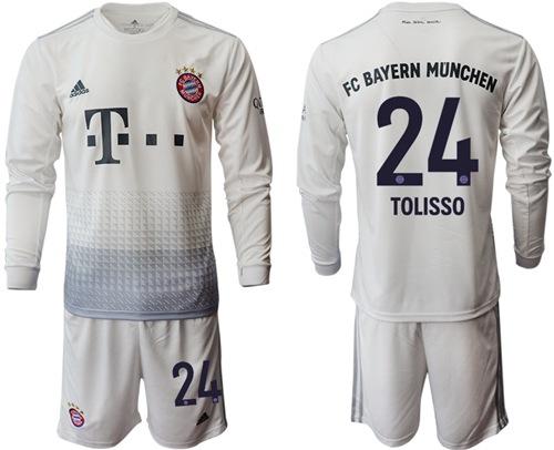 Bayern Munchen #24 Tolisso Away Long Sleeves Soccer Club Jersey