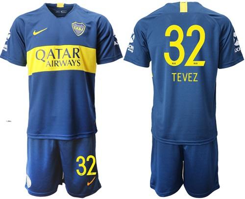Boca Juniors #32 Tevez Home Soccer Club Jersey