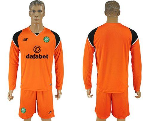 Celtic Blank Orange Goalkeeper Long Sleeves Soccer Club Jersey