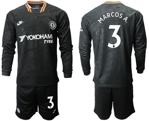 Chelsea #3 Marcos A. Third Long Sleeves Soccer Club Jersey
