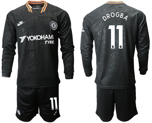 Chelsea #11 Drogba Third Long Sleeves Soccer Club Jersey