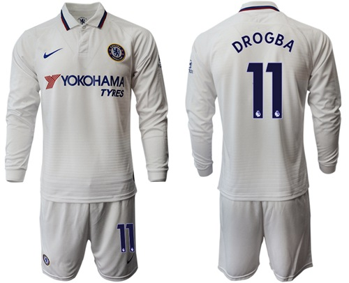 Chelsea #11 Drogba Away Long Sleeves Soccer Club Jersey