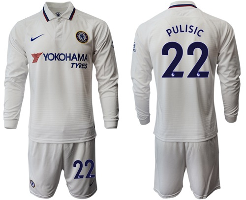 Chelsea #22 Pulisic Away Long Sleeves Soccer Club Jersey